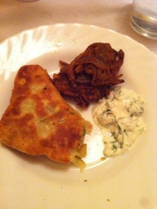 Onion bhaji, meat samosa and raita